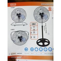 Ventilatore 3 in 1 pala 45cm 3 velocita oscillante a piantana da parete e da tavolo VInco 70718