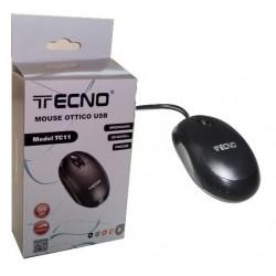 Mouse Ottico USB TECNO TC11 800dpi Nero con scroll per pc fisso portatile