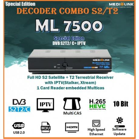 Decoder digitale Combo Medialink ML7500 DVB Sat iptv H265