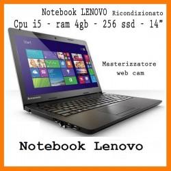 Notebook Lenovo Rigenerato Cpu i5 ram 4 gb  ssd 256 webcam masterizzatore