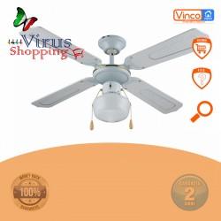 Ventilatore da soffitto bianco 55w 4 pale da 107 cm con luce E27 60w  Vinco 70912