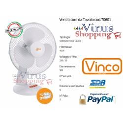Ventilatore da tavolo 40w 3 pale da 30cm 3 velocita ruotazione automatica vinco 70601