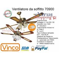 Ventilatore da soffitto 65w legno 5 pale da 1320mm 3 luce E27 60w predisposto x Telecom. Vinco 70900