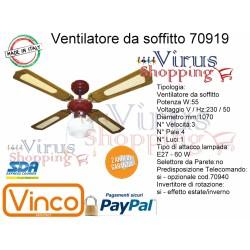 Ventilatore da soffitto 55w legno 3 pale da 1070mm 1 luce E27 60w predisposto x Telecom. Vinco 70919