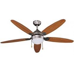Ventilatore da soffitto 65w legno 5 pale da 1320mm 1 luce E27 60w predisposto x Telecom. Vinco 70922