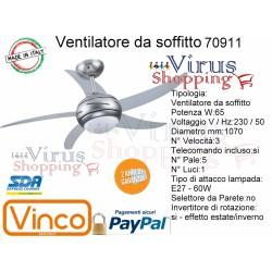 Ventilatore da soffitto 65w acciaio 5 pale da 1070mm 1 luce E27 60w Telecom. incluso Vinco 70911