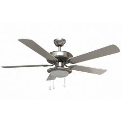 Ventilatore da soffitto 65w acciaio 5 pale da 1320mm 1 luce E27 40w predisposto x Telecom. Vinco 70915